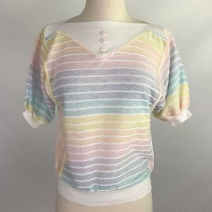 Vintage 80's Short Sleeve Pastel Striped Top Small